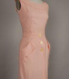 vintage 1950s dress wiggle linen carnation pink.