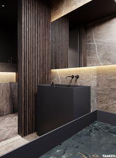 Naturstein U0026 Nussbaum Im Bad Luxus Badezimmer, Badezimmer Design,  Badewanne, Fliesen Badezimmer,