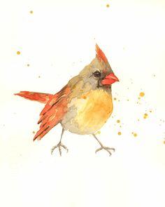 bird, lady cardinal, female cardinal, bird art, watercolor birds, bird ...