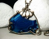 Agate Pendant  - Agate Necklace - Large Stone Pendant  - Agate and Pearls - 2,2 inch - Tiffany Technique - Agate Slice