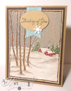 A wintry thinking of you card for today's blog hop at Operation Write Home.  Happy World Card Making Day! Scenic stamp is from @Stampendous Stamps