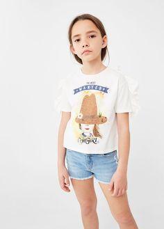 Frilled print t-shirt