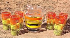 Vintage Anchor Hocking Fiesta Striped Glass 7 PC ICE LIP PITCHER & TUMBLER SET
