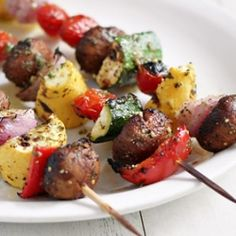 Grilled Vegetable Skewers with Pesto Vinaigrette
