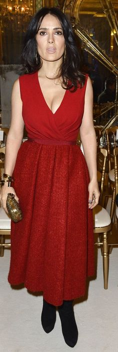 Who made  Salma Hayek's red dress that she wore in Paris on January 21, 2013?