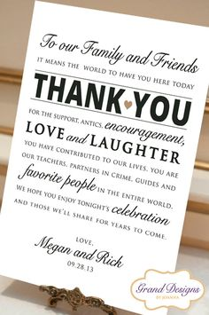 Wedding Reception Thank You Card  Wedding by GrandDesignsbyJoanna  BEST IDEA EVER X