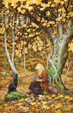 Terri Windling & Tilly (In the Word Wood) ~ Painting  by David Wyatt