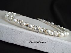 Bridal Headband Pearl headband Bridal headpiece by Element4you