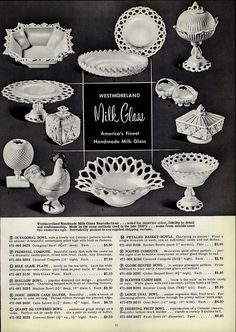 1954 PAPER AD Westmoreland Hand Made Milk Glass Basket Bowl Platter Candy Dish | eBay