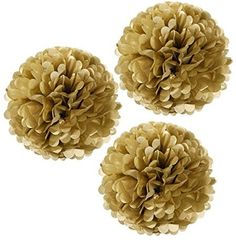 Wrapables Tissue Pom Poms Party Decorations for Weddings, Birthday Parties and Baby Showers, 12-Inch, Gold Metallic, Set of 3