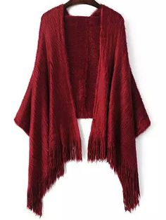 Red Tassel Mohair Scarve , Register SHEIN to get a FREE GIFT!