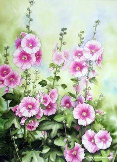 탐스럽게 핀 접시꽃을 수채화로 그렸습니다.정성이 담긴 만개한 접시꽃이 참 아름답고보는 사람도 기분 좋... Watercolor Flowers Tutorial, Watercolor Sunflower, Watercolour Tutorials, Watercolour Painting, Floral Watercolor, Hollyhocks Flowers, Easy Landscape Paintings, Fall Clip Art, Flower Sketches