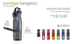 24 oz Contigo AutoSeal Kangaroo copolyester water bottle with push button opening and storage compartment with carabiner carrying loop.  http://dl-promotions.com/