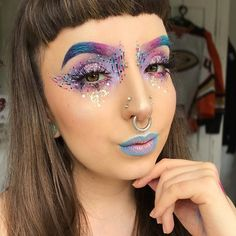 WEBSTA @ kayteeellen - Today's look is brought to you by outer space 🌌 using @katvondbeauty #everlastingliquidlipstick in #dreamer #bauhau5 #echo #requiem and #witches and all 4 shades from the #alchemistpalette ✨ with @litcosmetics glitter in #abba and a sneaky coming soon product 🙌🏻✨ and @gogetglitter #chunkywhite glitter ✨ lashes are @blackmagiclashes #nirvana (use my code #KAYTEEELLEN for money off) 💖 foundation and concealer are @ex1cosmetics 😍🙌🏻 btw I filmed a tutorial for this…