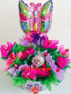 Arreglo de cumpleaños para niña, Arreglo de cumpleaños para mujer, Detalle para cumpleaños, Arreglo para centro de mesa, Arreglo de globos monterrey