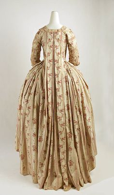 Robe à la francaise, France, late 18th century. Striped cotton with red floral design.