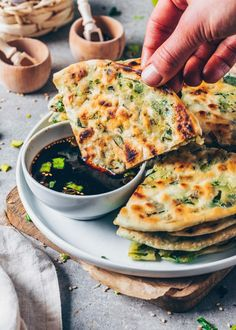 How to make Scallion Pancakes (Green Onion Pancakes), crispy pan-fried Chinese flatbread (Chive Pancakes), delicious, quick and easy, healthy! Step-by-Step instruction. Quiche Recipes, Meatloaf Recipes, Easy Meatloaf, Pancake Healthy, Vegan Protein Bars, Scallion Pancakes, Meat Loaf Recipe Easy, Recipe Box, Vegetarian Recipes