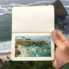 Back on the PCH, I met a cyclist touring down from Washington, named Willi. - Back on the PCH, I met a cyclist touring down from Washington, named Willi. He told me about how he - Sketchbook Inspiration, Painting Inspiration, Art Inspo, Gouache Painting, Painting & Drawing, Arte Sketchbook, Fashion Sketchbook, Moleskine Sketchbook, Travel Sketchbook