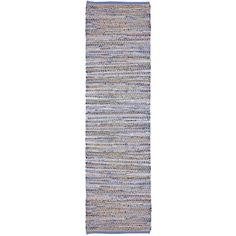 Blue Jeans Hand-woven Denim/ Hemp Runner Rug (2'6 x 12')