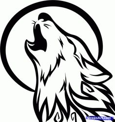 How to Draw a Howling Wolf Tattoo, Tribal Howling Wolf, Step by Step, Tattoos, Pop Culture, FREE Online Drawing Tutorial, Added by Dawn, Sep...