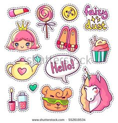 Colorful vector patch badges with animals, characters and things. Hand-drawn stickers, pins in cartoon 80s-90s comics style. Set with cute unicorn, princess, candy, etc. Part 9