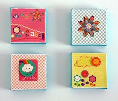MINI CANVASES  I always see those mini canvases at the craft store and wonder what I can do with them. This idea is so cute!