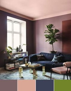 Check out these mesmerizing living room color combination that will totally inspire you! Pick the best one and colorize your living room now! Living Room Color Combination, Living Room Designs, Living Room Decor, Room Wall Colors, Home Wall Colour, Colored Ceiling, Pink Ceiling, Accent Ceiling, Ceiling Color