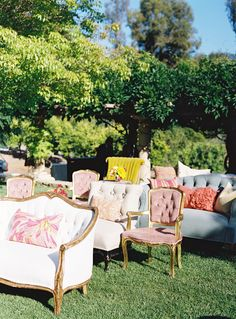 Definitely the ceremony seating I WANT! Eclectic mix of chairs, chaise lounges, love seats and ottomans!