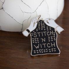 Stitch 'n Witch Enamel Lapel Pin at Bombasine