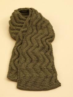 Free Knitting Pattern 70539AD Meandering Rib Scarf : Lion Brand Yarn Company