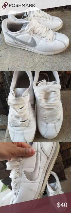 ca4229c930be16 Nike Cortez Nothing says old school like the Nike Cortez Womens size 7.5  white and shiny