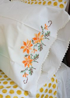 Pair Vintage Cross Stitched Floral Standara Size Pillowcases $12