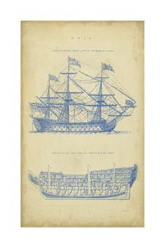Cape don lighthouse 8x10 architectural blueprint art print love this vintage ship blueprint malvernweather Gallery