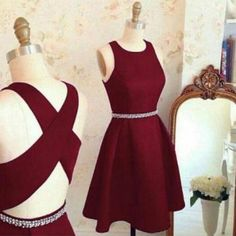 Short A line homecoming dress,burgundy homecoming dress,cross back short party dress,cocktail dresses
