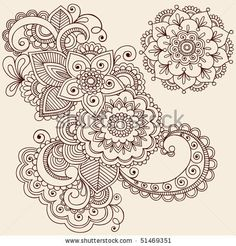 Hand-Drawn Abstract Henna Mehndi Abstract Flowers and Paisley Doodle Vector Illustration Design Elements