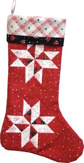 = free pattern = Starflakes Stocking by Jackie Robinson for Maywood Studios as seen at Quilt Inspiration Quilted Christmas Stockings, Christmas Stocking Pattern, Xmas Stockings, Christmas Sewing, Christmas Items, Christmas Crafts, Christmas Ornaments, Christmas Quilting, Christmas Tables