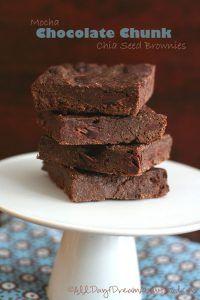 Low Carb Mocha Chocolate Chunk Brownies with Chia Seeds