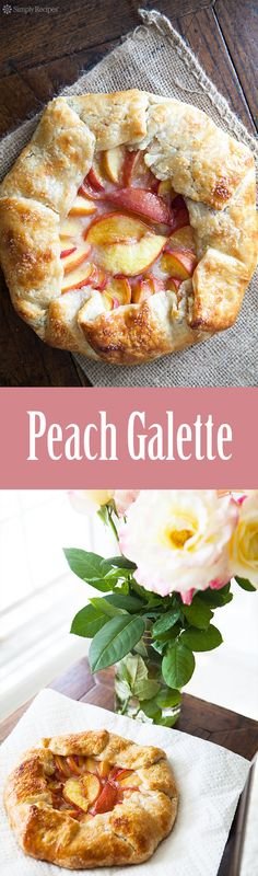 Peach Galette ~ Peach galette rustic tart made with slices of fresh yellow peaches in a simple butter crust. ~ SimplyRecipes.com