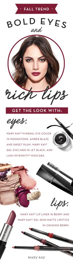 Fall brings pumpkin-flavored treats, cozy sweaters, and perfectly crunchy leaves. Our favorite fall trend? Bold, sultry eyes and gorgeous deep lip shades! | Mary Kay