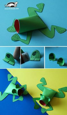 Frogs for churchcraft Toilet Roll Craft, Toilet Paper Roll Crafts, Toilet Tube, Preschool Crafts, Diy Crafts For Kids, Arts And Crafts, Frog Crafts, Paper Animals, Animal Crafts