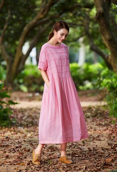 maxi linen dress, linen shift dress in pink, plaid dress, oversized linen dress, long linen dress, pink linen dress, linen shirt dress
