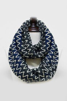 Chevron Knit Scarf in Navy Ombre