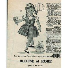 Votre Mode - n°597 - 07/08/1958 - Blouse enfant [Patron mis en vente par Presse-Mémoire]