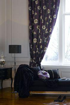 Aubergine Floral Curtains