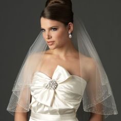 Swarovski Crystal Beaded Edge Fingertip-Length 2-Layer Bridal Veil - BedBathandBeyond.com
