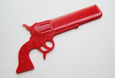 Vintage 50s Rodeo Queen Gun Shaped Novelty Cherry Red Plastic