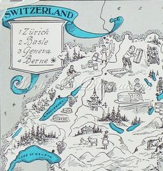 Vintage Swiss map circa 1930s, highlighting my favorites - chocolate and cheese!!