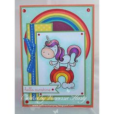 """Loving this colorful card made by Vannessa using """"Lucky Unicorn"""" 2 cute ink digi. #cardmaking #handmadecard #handmadecards #digistamps #digitalstamps #stamping #crafting #unicorn #rainbow #2cuteink #2cuteinkdigitalstamps #2cidigistamps #thedailymarker30day #kids #papercrafts #coloring"""