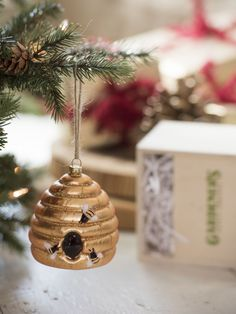 Glass Bee Skep Christmas Ornament | Unique Christmas Ornaments