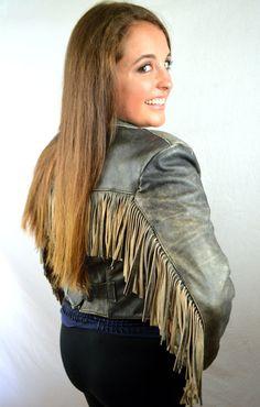 Vintage 80s Yellow Fringe Leather Biker Rocker Jacket Coat - Verducci